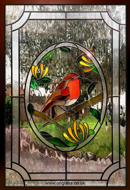 Robin red breast stained glass double glazed door panel.