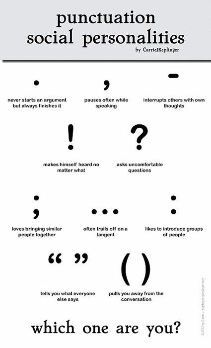 Punctuation Social Personalities. I am - without a doubt! Second option would be ... I use it often enough when writing... <--- yeah, totally didn't mean to use it there! lol
