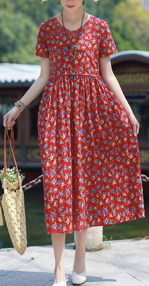 Bohemian v neck pockets linen outfit red print Dresses summer