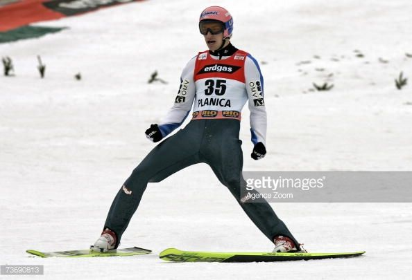 Andreas Kofler of Austria celebrates after landing a jump during the FIS Ski Jumping World Cup HS 215 event on March 24 2007 in Planica Slovenia