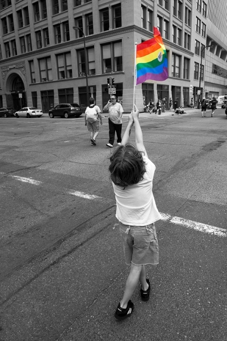 Child with a rainbow flag. #LGBT #pride