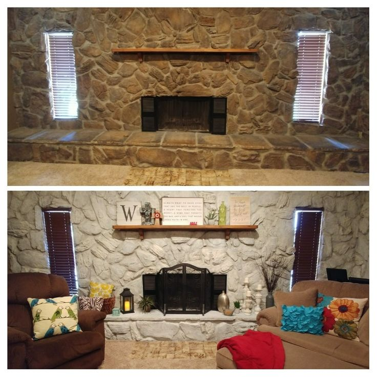 Whitewash Stone Fireplace Before/after