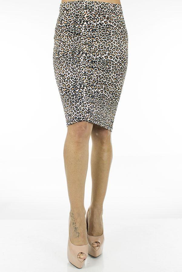 Fusta Dama Grey Leopard  Fusta dama midi, casual-elegant, ce poate fi purtata la diferite ocazii.  Imprimeu indraznet ce va va face cu siguranta remarcata.     Lungime: 58cm  Latime talie: 36cm  Compozitie: 100%Poliester