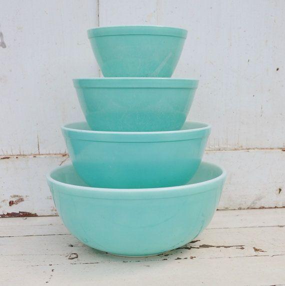 Aqua Pyrex Nesting Mixing Bowls Set of Four 4 by RibbonsAndRetro, $95.00