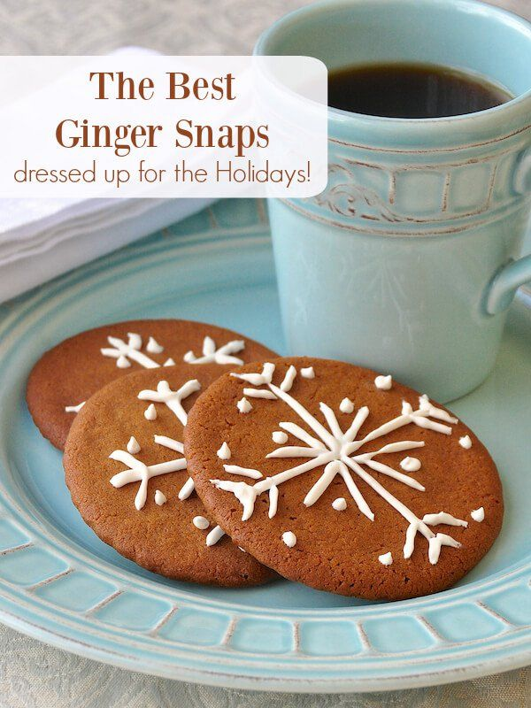The Best Ginger Snaps - thin crispy spiced cookies with plenty of warm ginger flavor. Just a Ziploc bag is all you need to decorate them for the Holidays too.