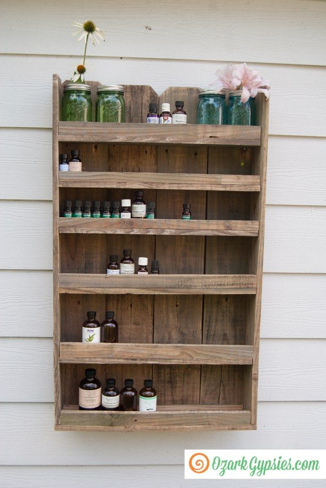 Reclaimed Wood Essential Oils Shelf by Ozark Gypsies