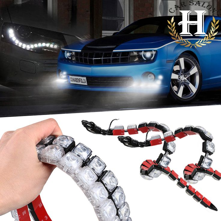 2X 12V  Universal High Power 12W Bendable 12 LED Waterproof Flexible DRL Daytime Running Light Fog Warning Lamp