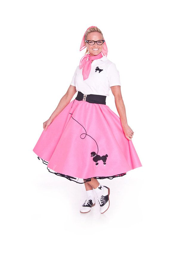 3 Pc 50s Poodle Skirt Outfit Adult You Choose By Hiphop50sshop 5799