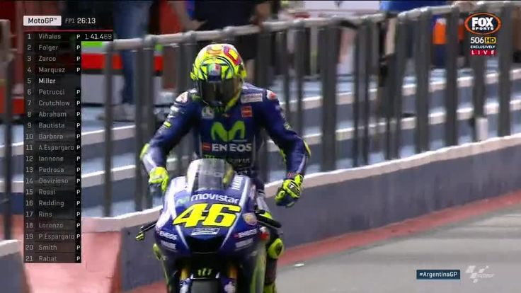 Argentina GP FP1 - Velentino Rossi Pit Out