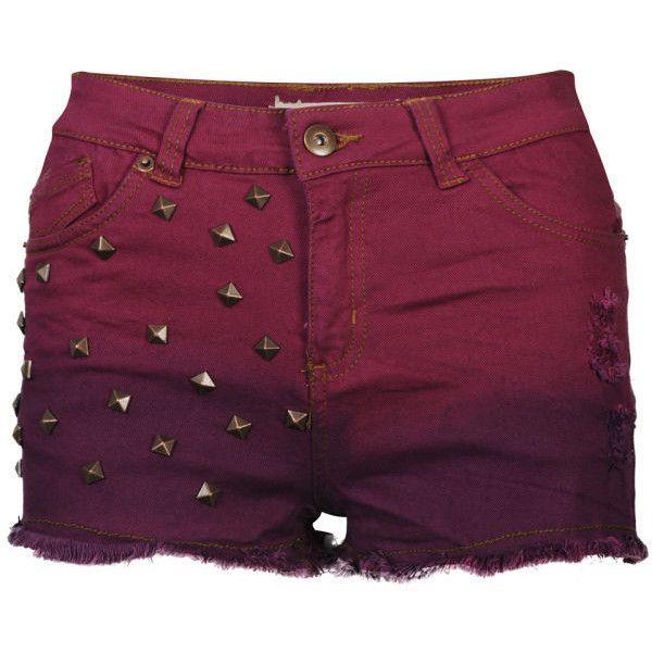 Brave Soul Women's Dip Dye Studded Denim Shorts found on Polyvore