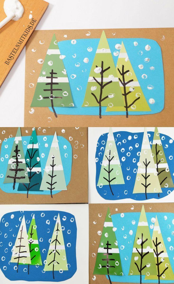 Machen Sie Karten Mit Kindern Malen Und Stempeln Sie Tannen