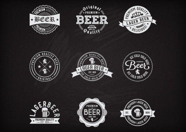 Jogo de etiqueta retro da cerveja Vetor grátis