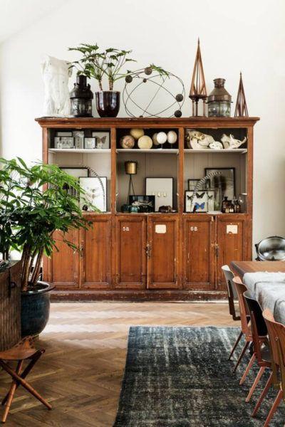 ancien bahut bibliothèque en bois, vintage salle a manger