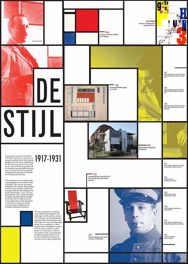 An information broadsheet detailing the Dutch art movement De Stijl aimed at high school students.