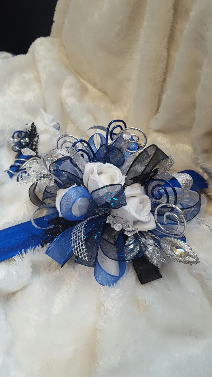 24 best prom corsages images on pinterest wedding bouquets blue royal blue black and silver prom corsage set from hen house designs henhousedesigns izmirmasajfo