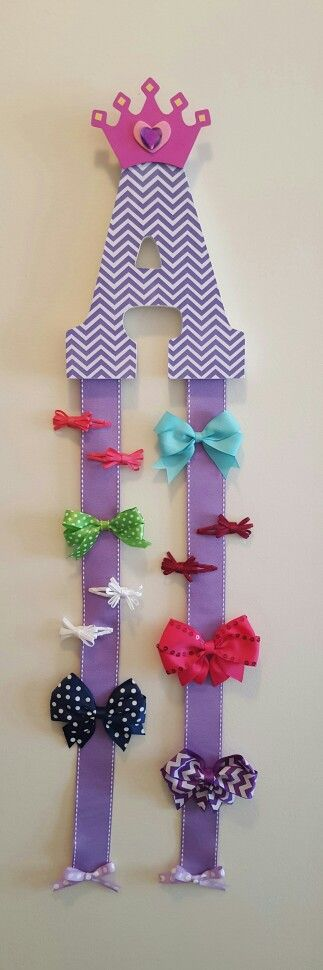 Initial hair bow holder, little girl birthday gift idea More