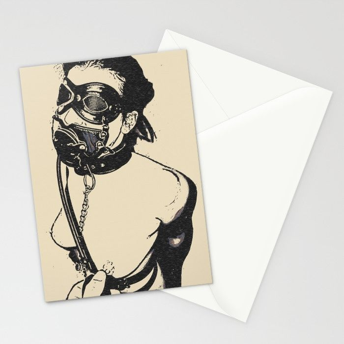 Master is her most important gasp of air - breath play in fetish BDSM style, adult black and white erotic artwork Set of folded stationery cards printed on bright white, smooth card stock to bring your personal artistic style to everyday correspondence. Each card is blank on the inside and includes a soft white, European fold envelope for mailing.