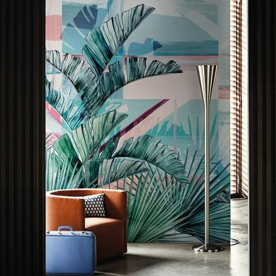 Wild inspiration with mid century elements builds a cool and classy space, noble materials with a tropical inspiration. #inspire #midcentury #inspiration #tropical #palm #classy #cool #trendy #trends #homedecor #interiordesign  #space #wallpaper #contemporary #luxury #projects