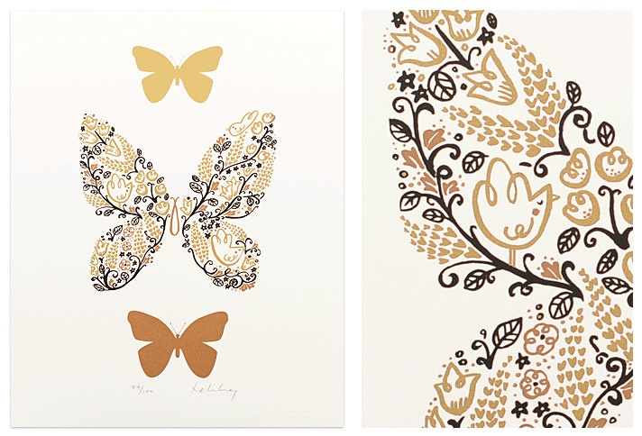 """Butterfly, limited edition screenprint  -   """"In the Garden"""" £40  https://www.etsy.com/listing/102917319"""