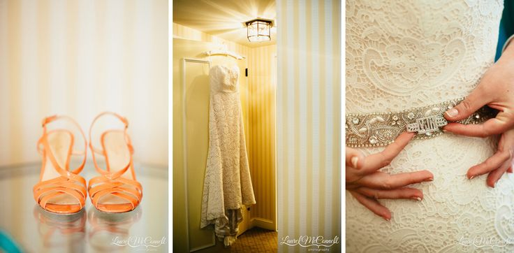 Amy Kuschel wedding gown from Belltown Bridal with orange Kate Spade bridal sandals photographed by Laurel McConnell Photography.