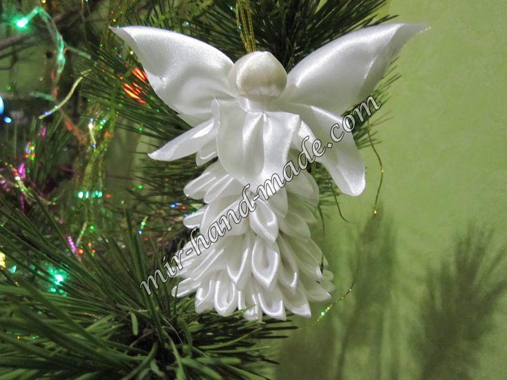Рождественский ангел в технике канзаши