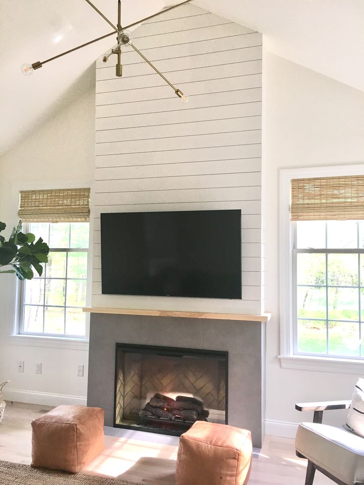 Shiplap Fireplace Scandinavian White Wash Floor Mid
