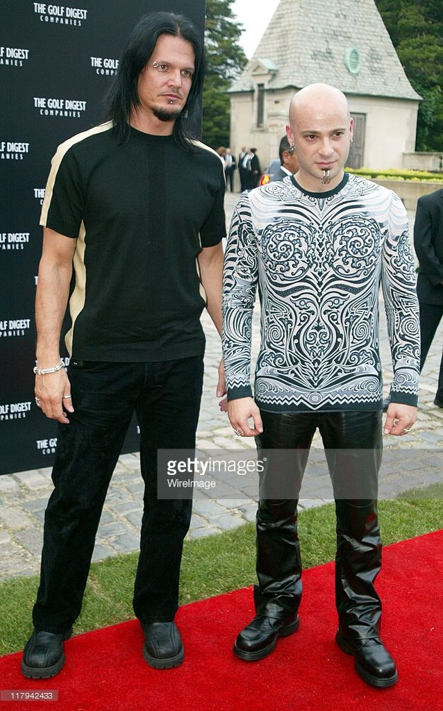 Dan Donegan and David Draiman during Golf Digest Companies Celebrates the 2002 U.S. Open Golf Championship at Oheka Castle in Cold Spring Hills, New York, United States.