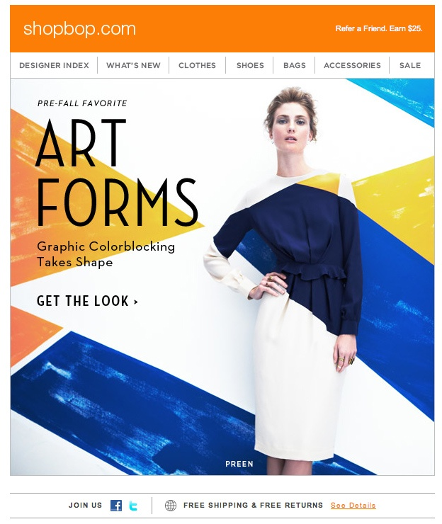 "Shopbop ""Art Forms"" Email"