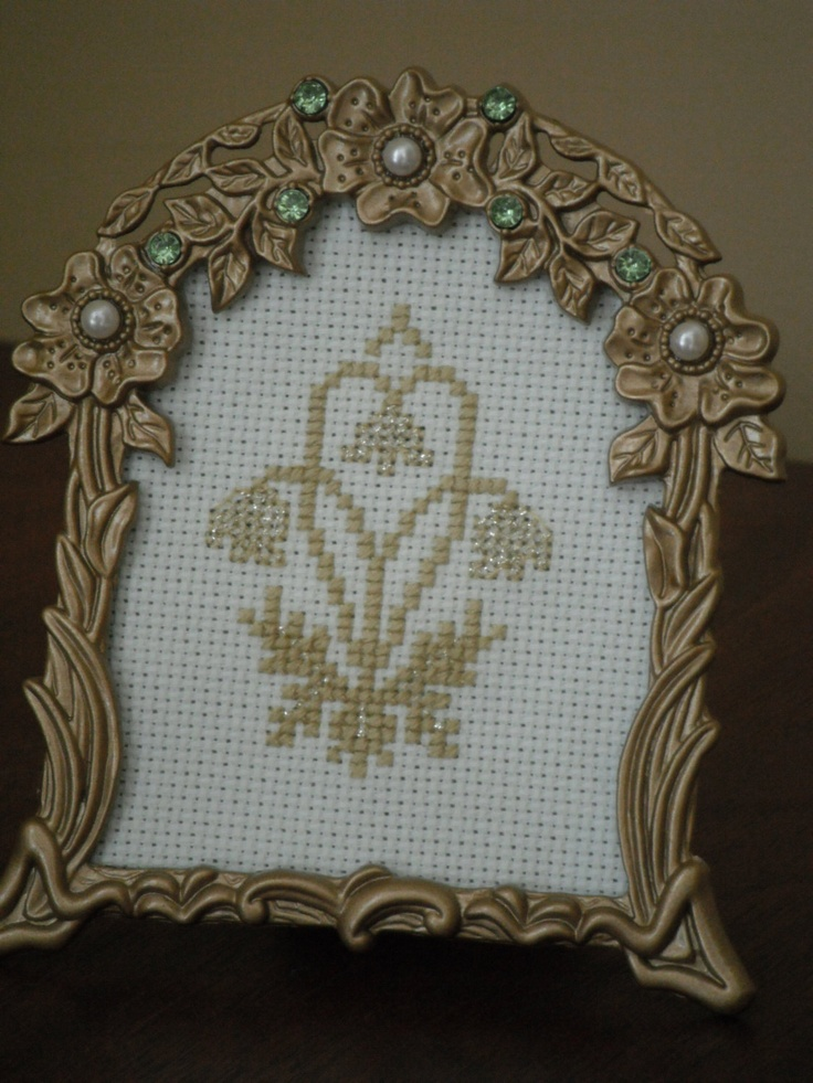 Framed Cross-Stitched William Morris 'Golden Bough'. $25.00, via Etsy.