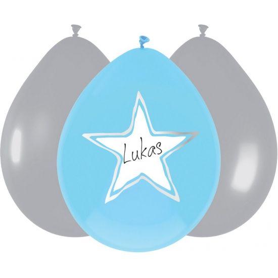 Geboorte ballonnen ster blauw. Zakje met 6 ballonnen: 3x blauw en 3x zilver. De blauwe ballonnen met ster zijn beschrijfbaar. Diameter: ongeveer 25 cm.