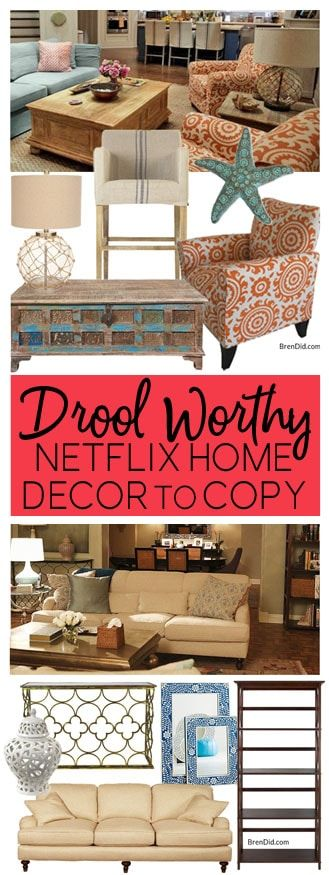 Netflix Homes | As Seen on TV homes | movie homes | Friends decor | Frankie and Grace Decor | Something's Gotta Give Decor | Scandal Decor | Gilmore Girls decor via @brendidblog