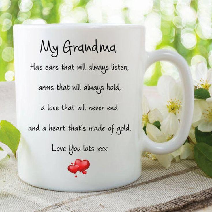 Grandma mug love you lots heart of gold always listens