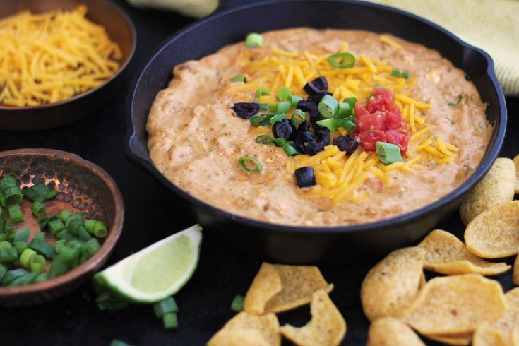 Get your dip on with this super easy, 7-ingredient Tex-Mex dip. Just combine your ingredients and heat them together on the stove. Then top the creamy dip with any cheese – we love sharp cheddar, Monterey Jack, or queso fresco – along with black olives, green onion, and anything else that strikes your fancy. If you can't find canned pico, you can use Rotel diced tomatoes, instead.