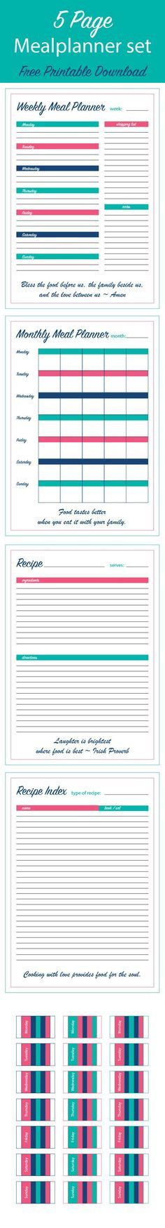 Free printable meal planner: plan your family meals and use this meal plan for healthy eating. Implement all those family dinner ideas with these monthly and weekly meal plan templates.