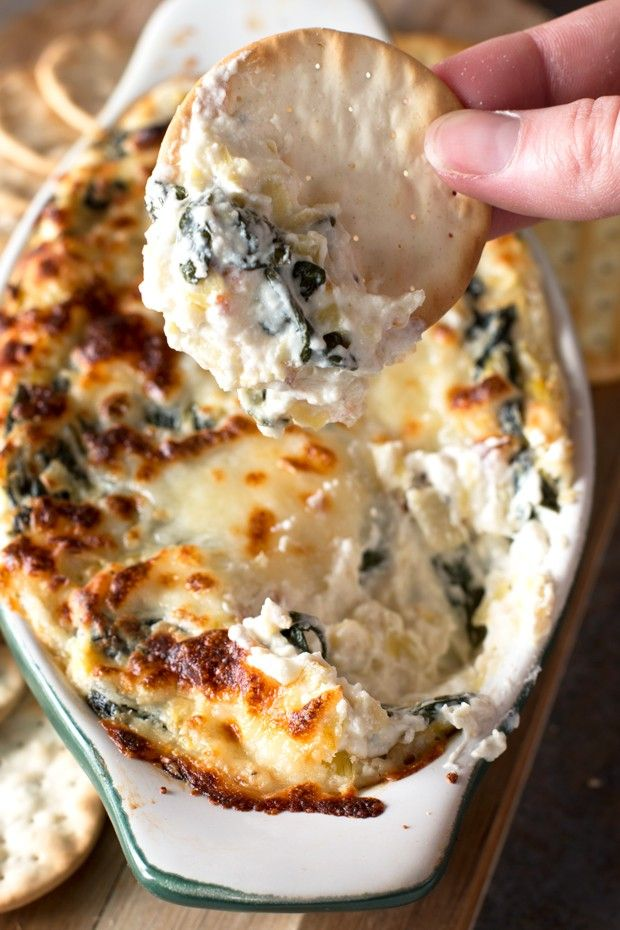 Spinach and Artichoke Goat Cheese Dip from @cakenknife