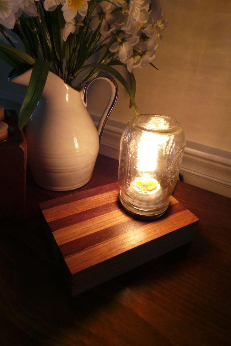 Edison Lamp made from Oak and Epay wood.  www.nealworksltd.etsy.com