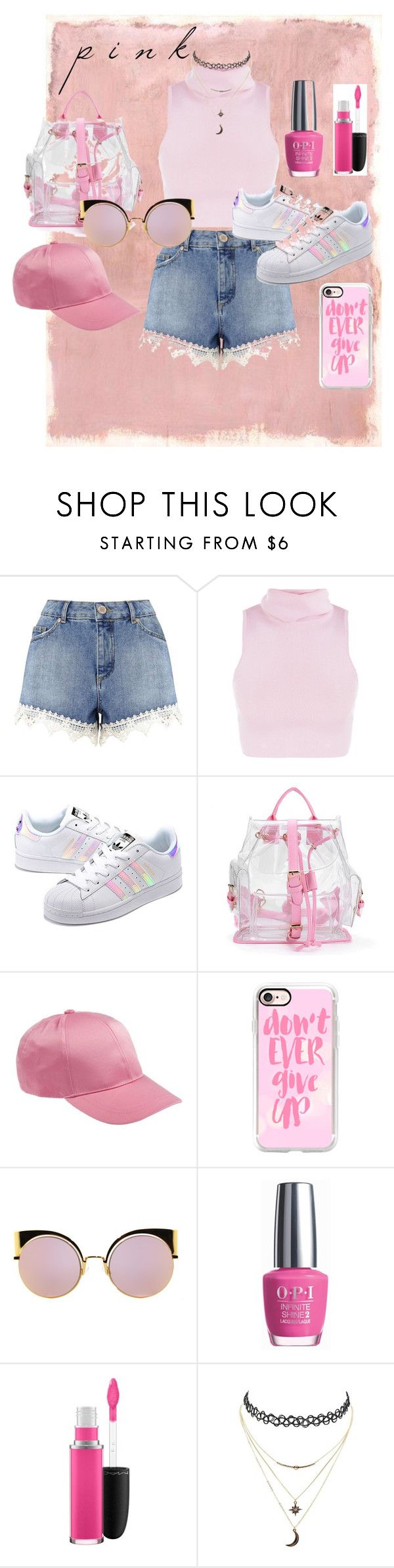 """pink chic"" by soffrolon on Polyvore featuring moda, Rothko, Miss Selfridge, adidas Originals, Casetify, Fendi, OPI, MAC Cosmetics y Charlotte Russe"