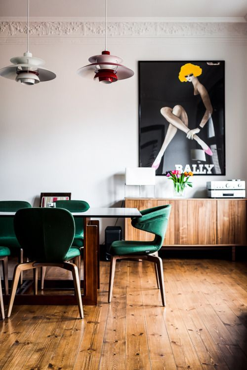 Mid century modern style, emerald green chairs, Dining room