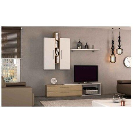 Conjunto de #muebles  #salon   5 en Blanco Brillo, elaborado en melamina y acabado en color blanco brillo, se puede adquirir completo que esta compuesto de 1 Módulo de Televisión 2 Cajones 40x120x37.5cm, 1 Módulo Auxiliar Melamina de 32x132.5x40 cm, 2 Módulos Altos 1 Puerta de 30x35x105 cm, 1 Módulo Estanteria 4 Huecos de 30x105x17.5 cm, 1 Balda C/2 Soportes de 20x105x25 cm. También puede adquirirse por piezas sueltas. Articulo nuevo y garantía. Hazte con el por solo 226.15€ Poco gasto de…