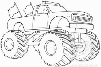easy monster truck coloring pages - photo#15