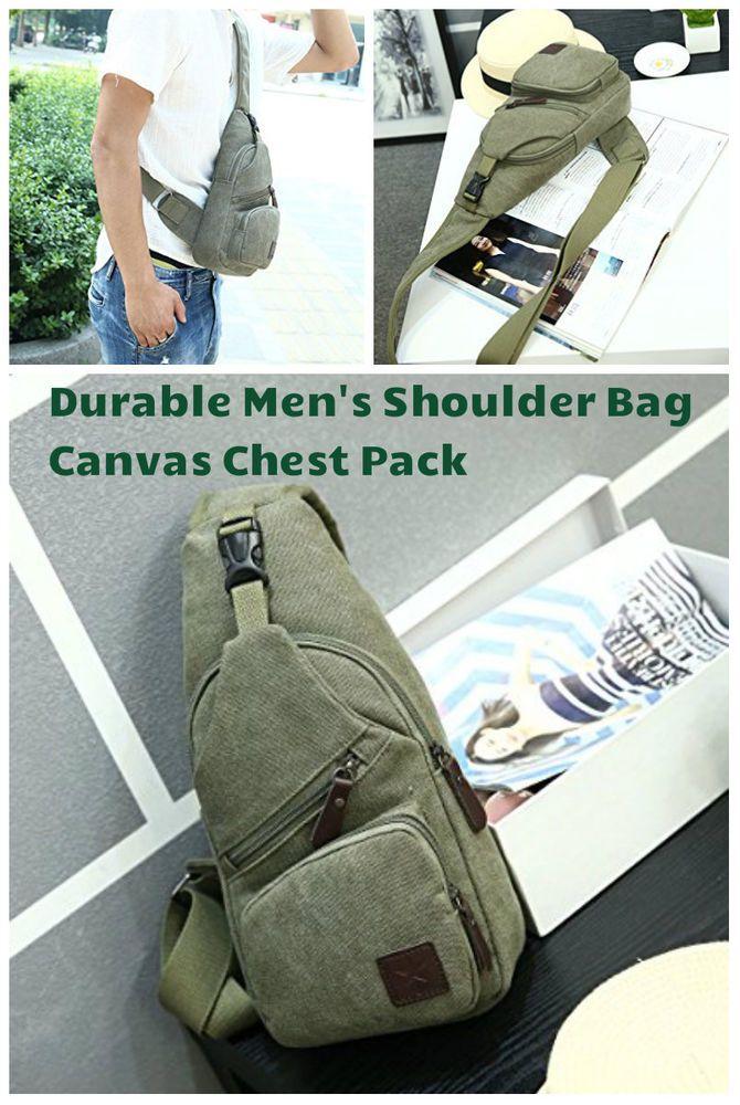 Men Canvas Chest Pack Messenger Bag Crossbody Sling Hiking Travel Shoulder Bags