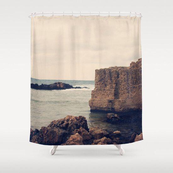 Art Shower Curtain Mediterranean 1 photography home decor photograph grey gray Nautical photo Beach house decor navy blue tan bathroom decor by SylviaCPhotography on Etsy https://www.etsy.com/listing/233563514/art-shower-curtain-mediterranean-1