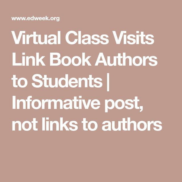 Virtual Class Visits Link Book Authors to Students | Informative post, not links to authors