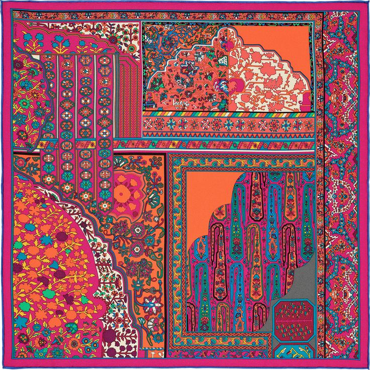 2015 FW | Tapis Persans Zoom | Silk twill pocket square in 100% silk (45 x 45 cm) | Ref. : H892981S 02 Rose Vif/Orange/Vert | €145.00