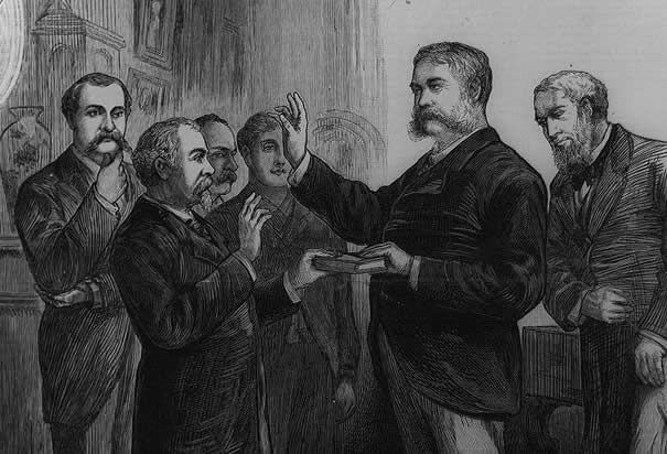 Arthur Sworn In: Garfield was assassinated, dying on September 2, 1881. The next day, Arthur was sworn in as president.