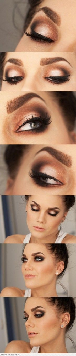 Mooie rood/bruine smokey-eyes