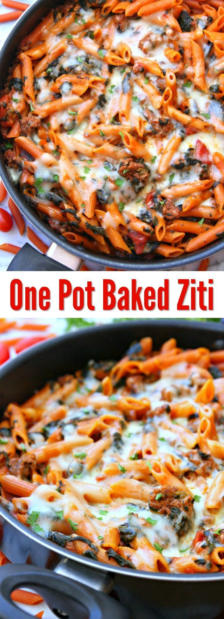Jun 20, 2020 – One Pot Baked Ziti – An easy dinner the entire family will. Cook everything in one skillet making clean u…