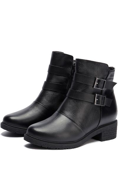Black Cow Leather Buckle Strap Side Zipper Booties