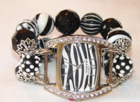 Black and White Chunky Beaded Watch Band and Face   by BeadsnTime, $30.00