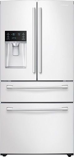 Samsung - 28.2 Cu. Ft. 4-Door French Door Refrigerator with Thru-the-Door Ice and Water - White - Larger Front